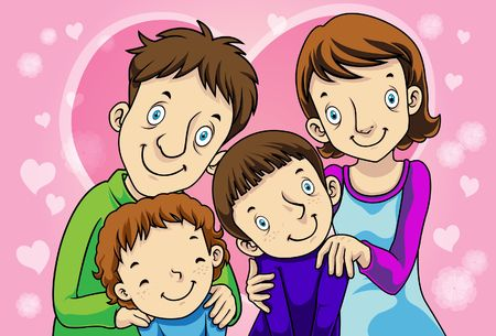 Image of father, mother, and children who love each other. Stock Photo