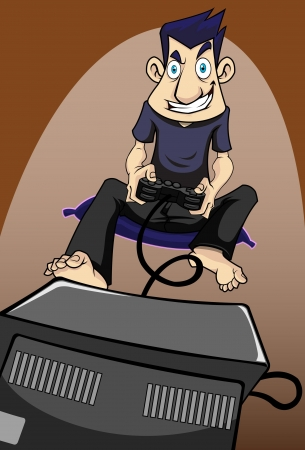 Image of a man play video game with a lot of fun and passion.