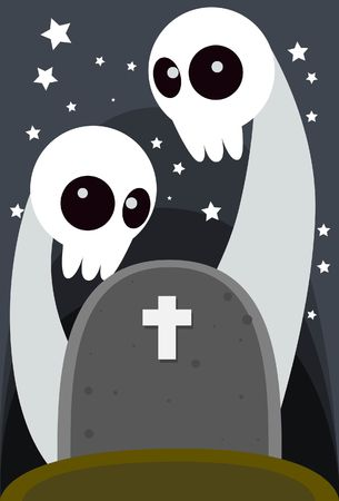 hades: Image of Two Halloween Ghost  rise up  from the  grave. Stock Photo