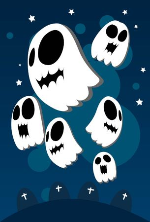 Image of  ghosts which is wandering around in the underworld during Halloween. photo