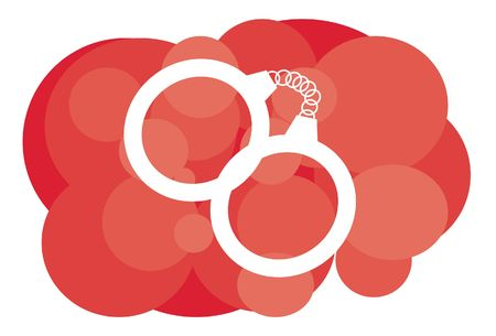 An image of handcuffs on a red background Stock Photo - 5833774