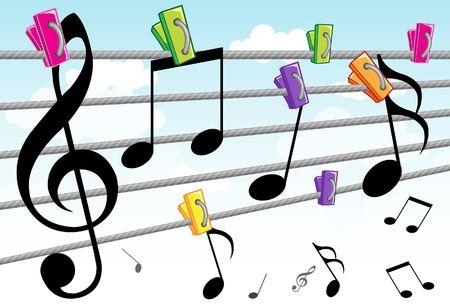 letras musicales: Imagen de las notas de bailes que se mueven alrededor de crear hermosa melod�a.