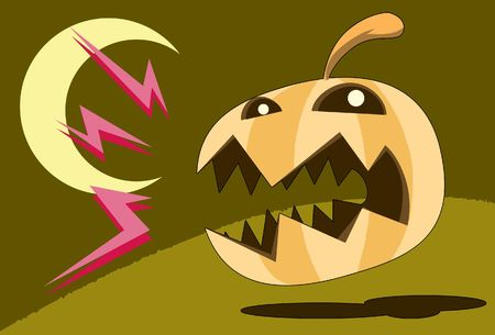 : Image of  Angry Pumpkin Ghost Who Comes Out to haunt Halloween