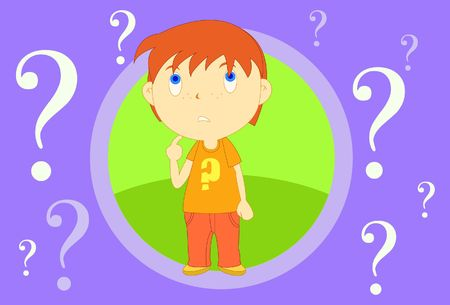 bewilder: Image of a boy who is lost and full of doubt Stock Photo