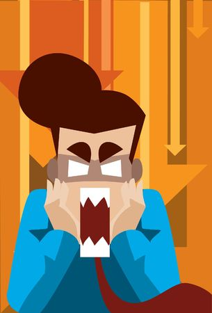 freak out: Image of a business who is highly stress and panic and loose control. Stock Photo