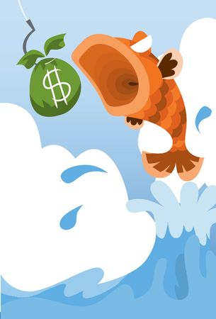 cartoon money: Image of a fish jumps to eat money.