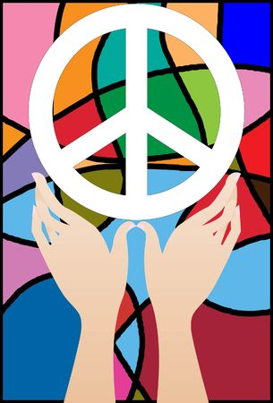 neutrality: Image of two hands hold peace sign up in the air.  Stock Photo