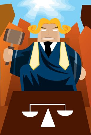Image of a judge who is sitting on the throne and judge the case.