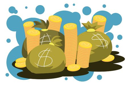 Image of three money bags and stack of golden coins. Stock Photo
