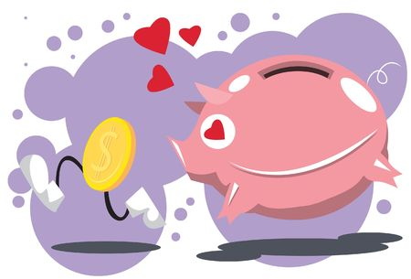 Image of a pink piggy bank chase a golden coin.