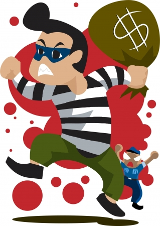 Image of a robber who is running away from the security guard. Stock Photo