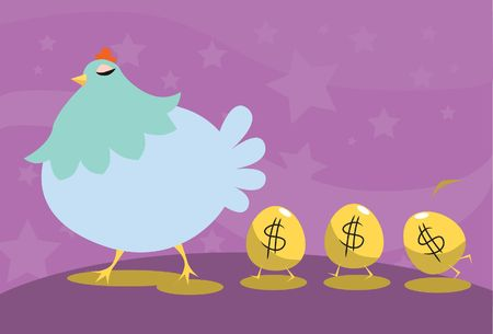 An image of a hen walking with three golden eggs having the dollar sign following her