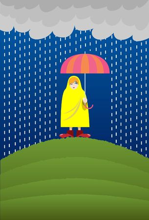 rainfall: An image of a woman standing on a hillock wearing a yellow raincoat and carrying an umbrella to protect herself from the heavy rainfall Stock Photo