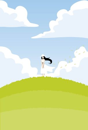 hillock: An image of a young woman wearing a white dress and white hat and standing on a hillock