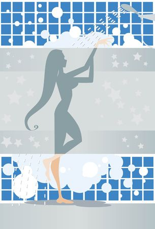shower stall: An image of a woman taking a shower in a shower stall