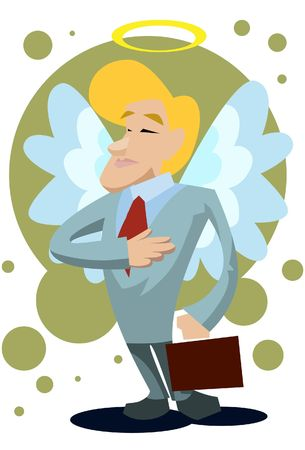 financier: An image of a male angel with wings and halo and dressed up like a businessman carrying a briefcase