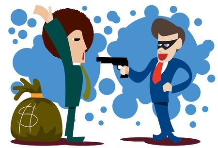 extortion: An image of a businessman wearing a mask and holding at gunpoint another businessman behind whom is sack of money Stock Photo
