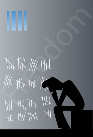 slammer: An image of a dejected mans silhouette sitting in a prison cell and the wall of cell has the number of days he has passed being in prison Stock Photo