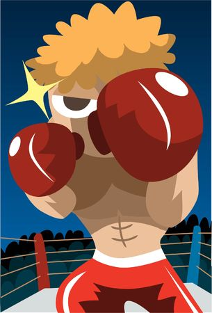 pugilist: An image of a boxer in a boxing ring in a fighting position