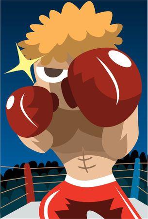 pugilist: Una imagen de un boxeador en un ring de boxeo en una posici�n de lucha  Foto de archivo