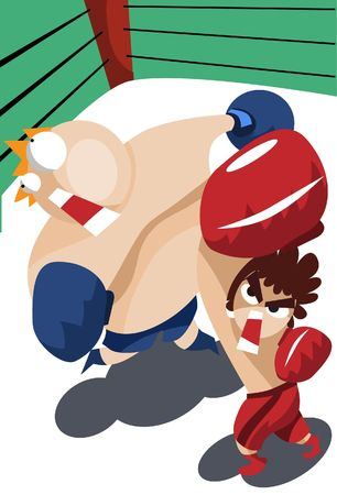 weaker: An image of a weaker boxer punching a much bigger opponent