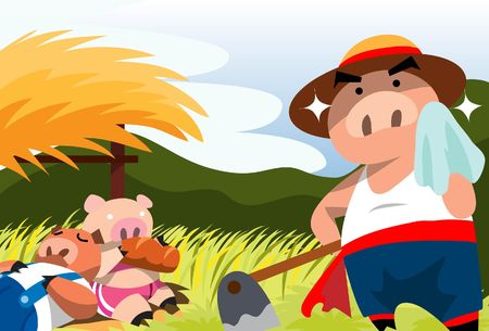 An image of two pigs idling in the field, while the third pig is wiping his perspiration after working hard in the field