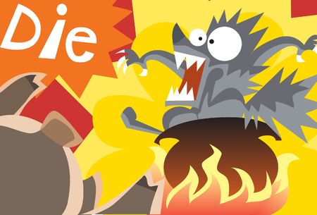 An image of big bad wolf in a pot that is on the fire while the little pig is urging the wolf to die photo