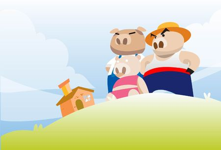 hillock: An image of the three little pigs admiring their brick house from a small hillock