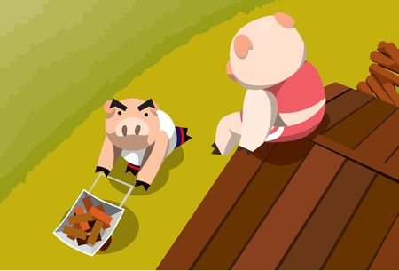 An image of a little pig sitting on the roof of his house made from wood and looking down at another little pig pushing a wheelbarrow full of bricks Stock Photo