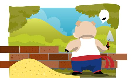 An image of a pig whistling and constructing a brick house