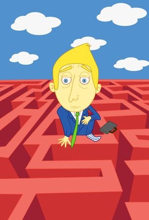 quandary: An image of a businessman trying to find his way out a maze Stock Photo