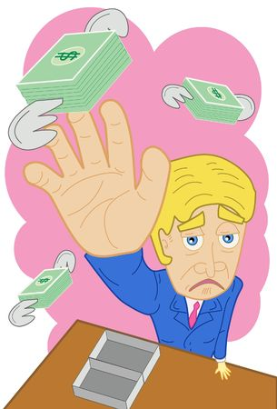 pauper: An image of a sad man trying to grab money that is flying away from him