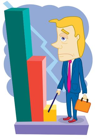 depreciation: An image of a depressed businessman pointing to the downturn on a bar graph