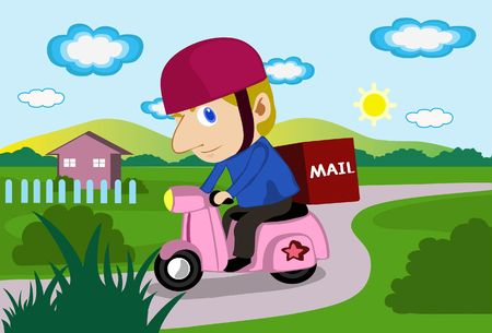 An image of a mailman driving a scooter to delivery mail photo