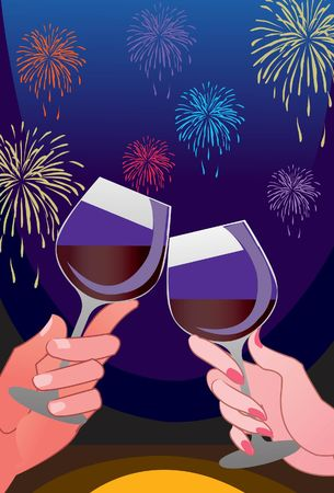 gaiety: An image of two hands holding wine in glasses and raising a toast while firecrackers are bursting in the background