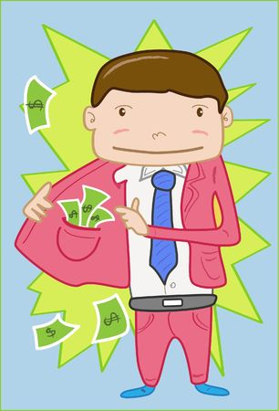 conman: An image of man holding open half his coat to show the stack of currency notes stuffed in the inside pocket of the coat