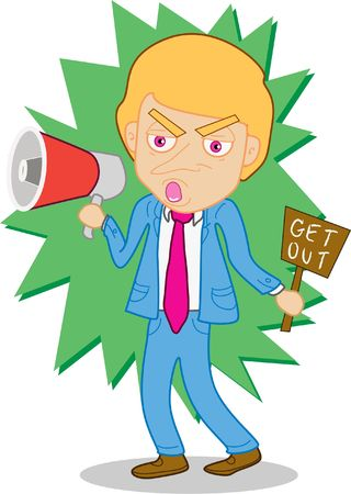 boycott: An image of a man shouting through the megaphone while holding a get out placard in the other hand
