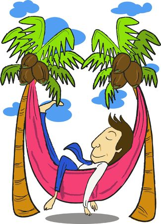 siesta: An image of a man sleeping in a hammock that is strung between two palm trees