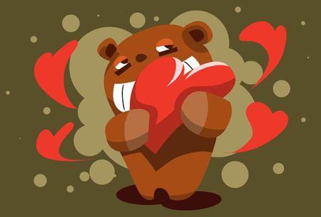 Una imagen de un oso de peluche agarrando un coj�n en forma de coraz�n en el pecho  Foto de archivo - 6339652