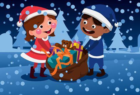 Una imagen de un ni�o y la ni�a arrastrando un saco lleno de juguetes y regalos en fuertes nevadas  Foto de archivo - 6339642