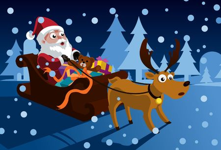 An image of Santa Claus sitting in his sleigh full of gifts and presents while holding on to the reins of the reindeer photo