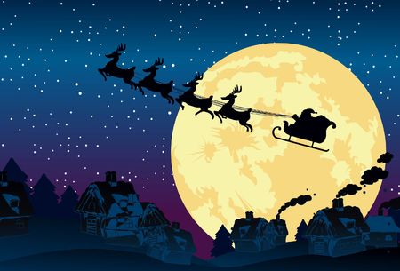 An image showing a silhouette of Santa Claus flying on his sleigh being pulled by his reindeer against a backdrop of full moon Stock Photo