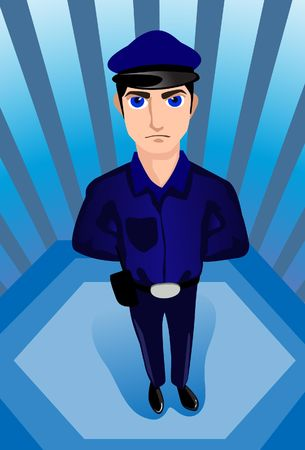 sleuth: An image of a stern looking policeman standing with his hands behind his back