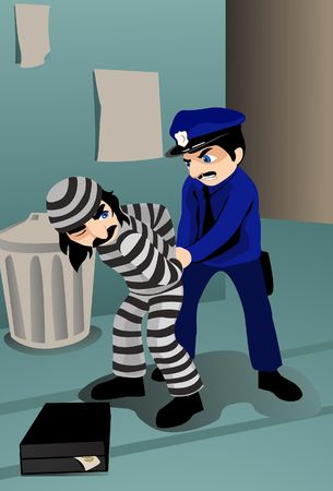 An image of a policeman handcuffing a robber
