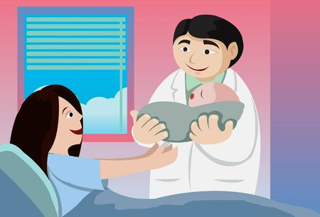 An image of a doctor holding out a newborn baby to the mother Stock Photo