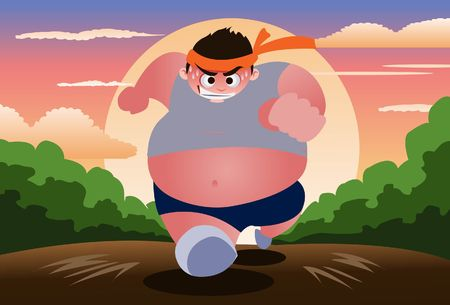 An image of a fat and obese young man jogging early in the morning