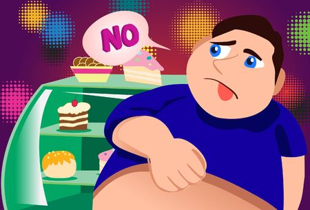 overeat:  No, I Will Not Touch Cakes Stock Photo