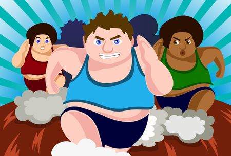 weight loss man: An image of a group of fat men running in a race