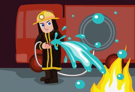 Una imagen de un bombero de pie frente a los bomberos y apagando un incendio con manguera  Foto de archivo - 6417372