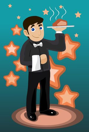 An image of a waiter holding a plate of a steaming roast in one hand photo